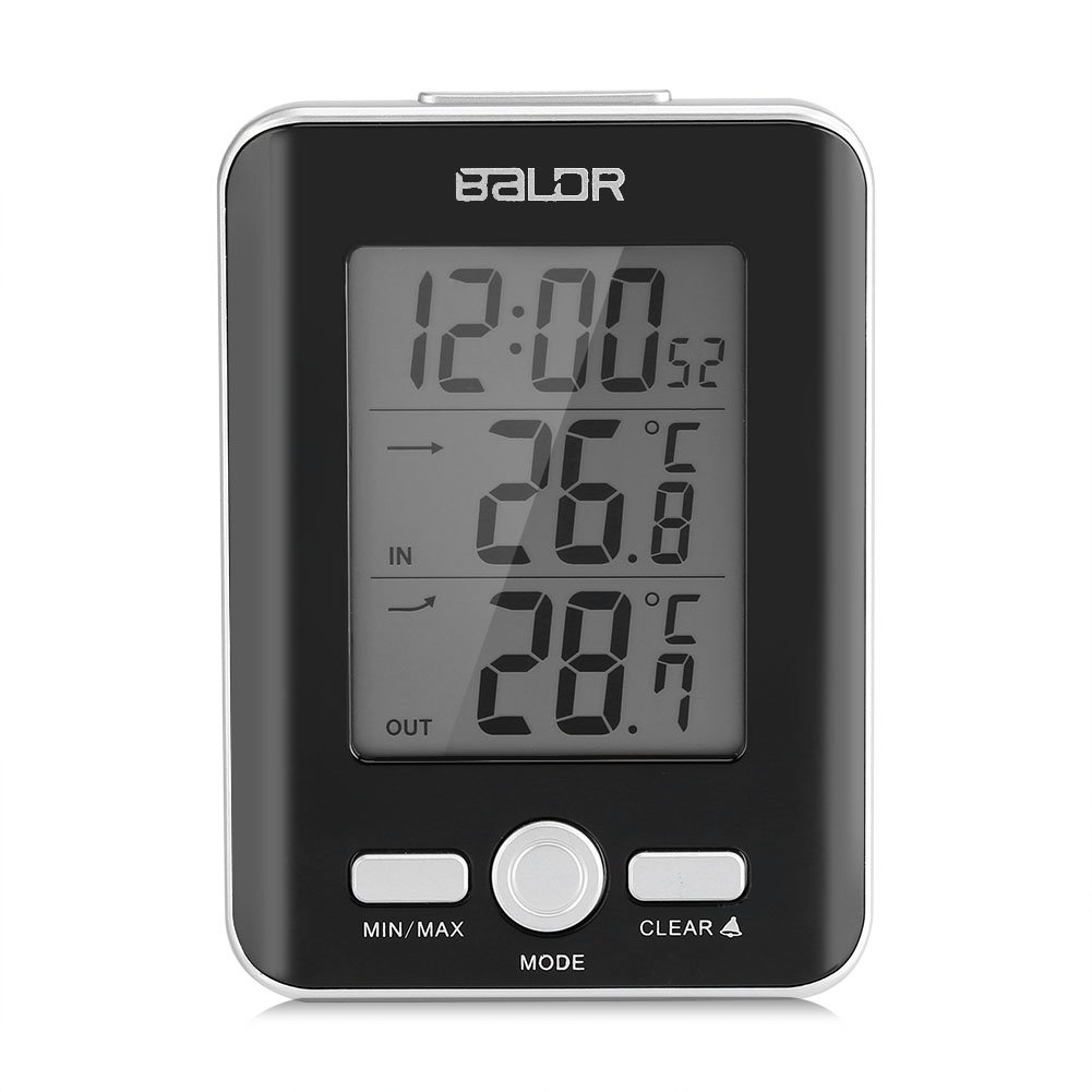 Zerodis LCD Digital Thermometer Clock Indoor Outdoor Temp Display with Wired Probe Sensor (Black)