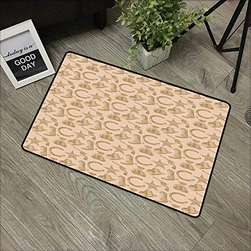 Printed Door mat W31 x L47 INCH Western,Engraving Style Star Boot and Money Revolver Line Pattern Worn Out Dotted Backdrop,Tan Brown with Non-Slip Backing Door Mat Carpet ()