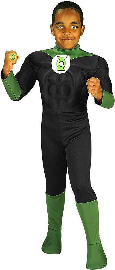 Deluxe Muscle Chest Green Lantern Costume Hal Jordan Kids Superhero Halloween
