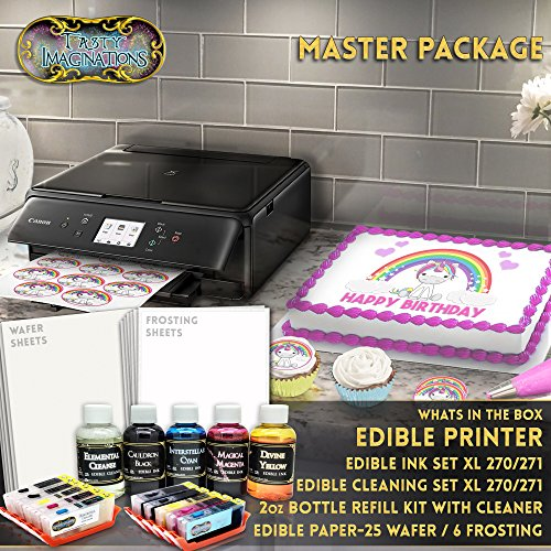 Lcd Package - Edible Canon LCD Printer Bundle Master Package Wafer + Frost Sheet Ink Cartridge/Cleaner Cartridge + Refills