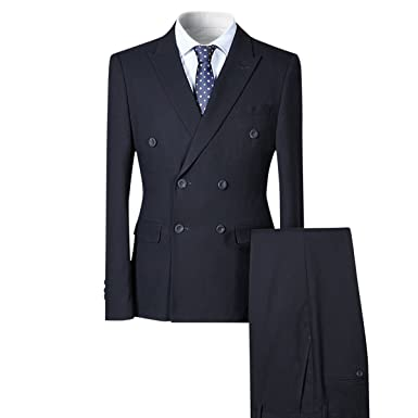 814caef8076cf4 Mens Stylish Double Breasted Suit Elegant 3 Piece Slim Fit Wedding Suit  Black/Navy