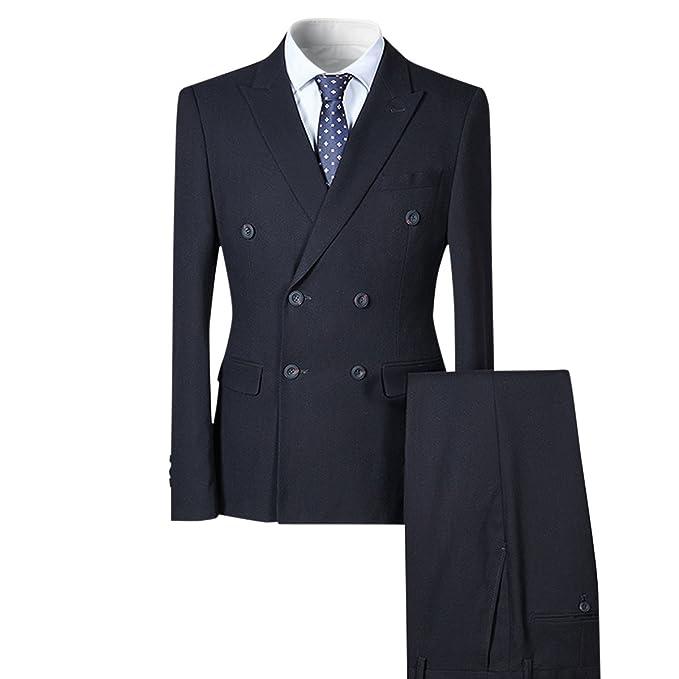 Allthemen Herren Business Anzug Zwei Reihe Knöpfe Slim FIT 3 Teilig Sakko