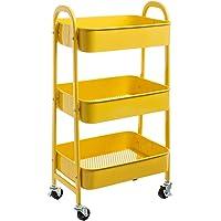 DOEWORKS Opbergwagen, 3-etages, metaal, Utility Cart rolwagen, organizer, trolley met wielen, voor keuken, make-up…