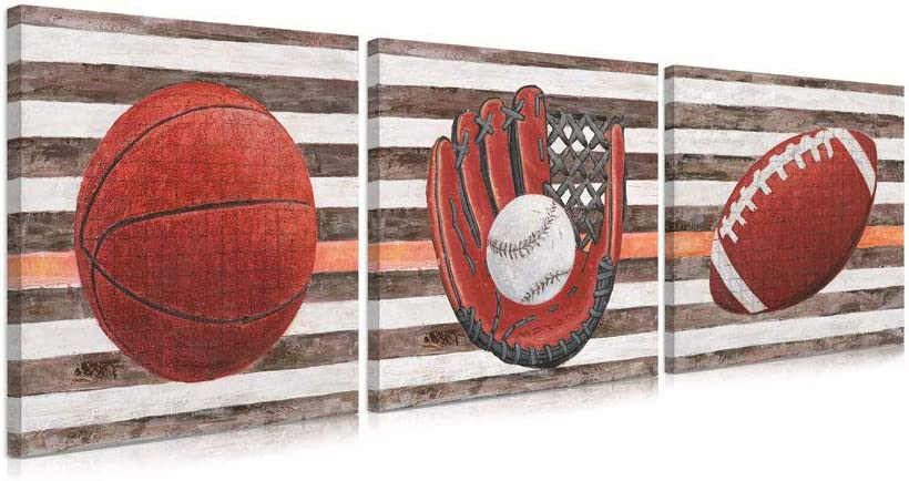 B BLINGBLING Sports Wall Decor for Boys Room: Basketball Football Baseball Wall Art Rustic Sports Artwork Wall Decor for Teen Boys Bedroom(12