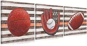 B BLINGBLING Sports Wall Decor for Boys Room: Basketball Football Baseball Wall Art Rustic Sports Artwork Wall Decor for Teen Boys Bedroom(12
