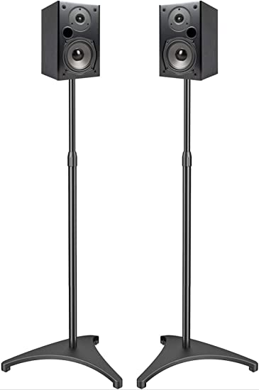 PERLESMITH Speaker Stands Extend 10-10 Inch with Upgraded Cable Management,  Hold Satellite, Small Bookshelf & Bluetooth Speakers up to 10lbs(ie Vizio,