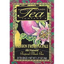 "Passion Fruit Na Pali Tropical Black Tea, All Natural, 20 Teabags, Blended and Packed in Hawaii 35 PASSION FRUIT NA PALI Tea - Experience the taste of Camellia Sinensis tea leaves romanced by the Passion Fruit's bold adventuresome flavor. A tea as magnificent as Kauai's Na Pali coast. This wonderfully delicious tea is the ""TASTE OF THE TROPICS"" and is our MOST POPULAR FLAVOR with a refreshing tropical aroma and intense flavor. The result is a quality tea with unique flavor and smooth taste that blends remarkably well with exotic tropical fruits to create our fragrant and flavorful teas. INDIVIDUALLY PACKAGED TEABAGS with brewing instructions. HOT TEA by the cup or teapot. ICED TEA by the pitcher. Sweetener will enhance the fruit flavor. The tropical black tea flavors are bold and get richer and deeper the longer they steep. Rich in polyphenols (antioxidant), with lasting flavor, even after prolonged storage."