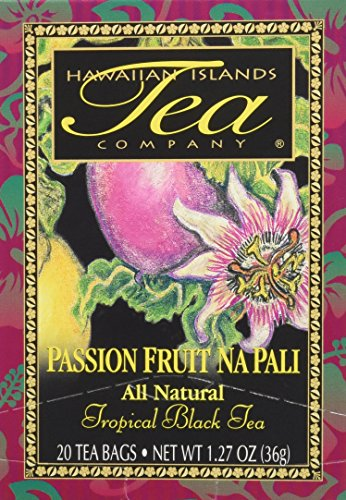 Hawaiian islands passion fruit na pali tropical black tea, all natural - 20 teabags 1 exotic tropical flavor: our passionfruit black tea is a delicious, tropical tea that can be enjoyed either hot or cold. The satisfying tropical flavor can be enhanced with a bit of sweetener. Aloha from hawaii: hawaiian islands tropical black tea is blended and packaged in hawaii for optimal freshness. This passion fruit flavored tea is rich in polyphenols (antioxidants) that may promote quality of life. Enjoy the island aroma: the rich taste and intoxicating fragrance create a refreshing hot tea by the cup or teapot, or iced tea by the pitcher. Take a sip, close your eyes, and be transported to kauai's na pali coast.
