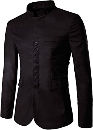 Etecredpow Mens Mandarin Collar Print African Dashiki Long-Sleeve Casual Shirts