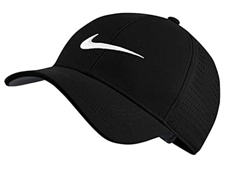 b5496b99edd Image Unavailable. Image not available for. Color  NIKE AeroBill Legacy 91  Perforated Golf Black Cap ...
