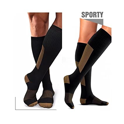 9fc23d0dd6 HIGHCAMP 3PK Copper Compression Knee High Recovery Support Socks- Best  Copper Infused Fit Sock for