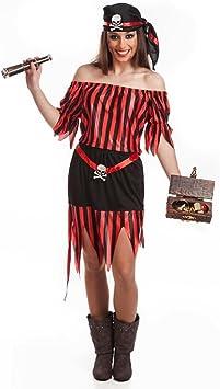 Disfraz de Pirata rojo y negro para mujer: Amazon.es: Juguetes y ...