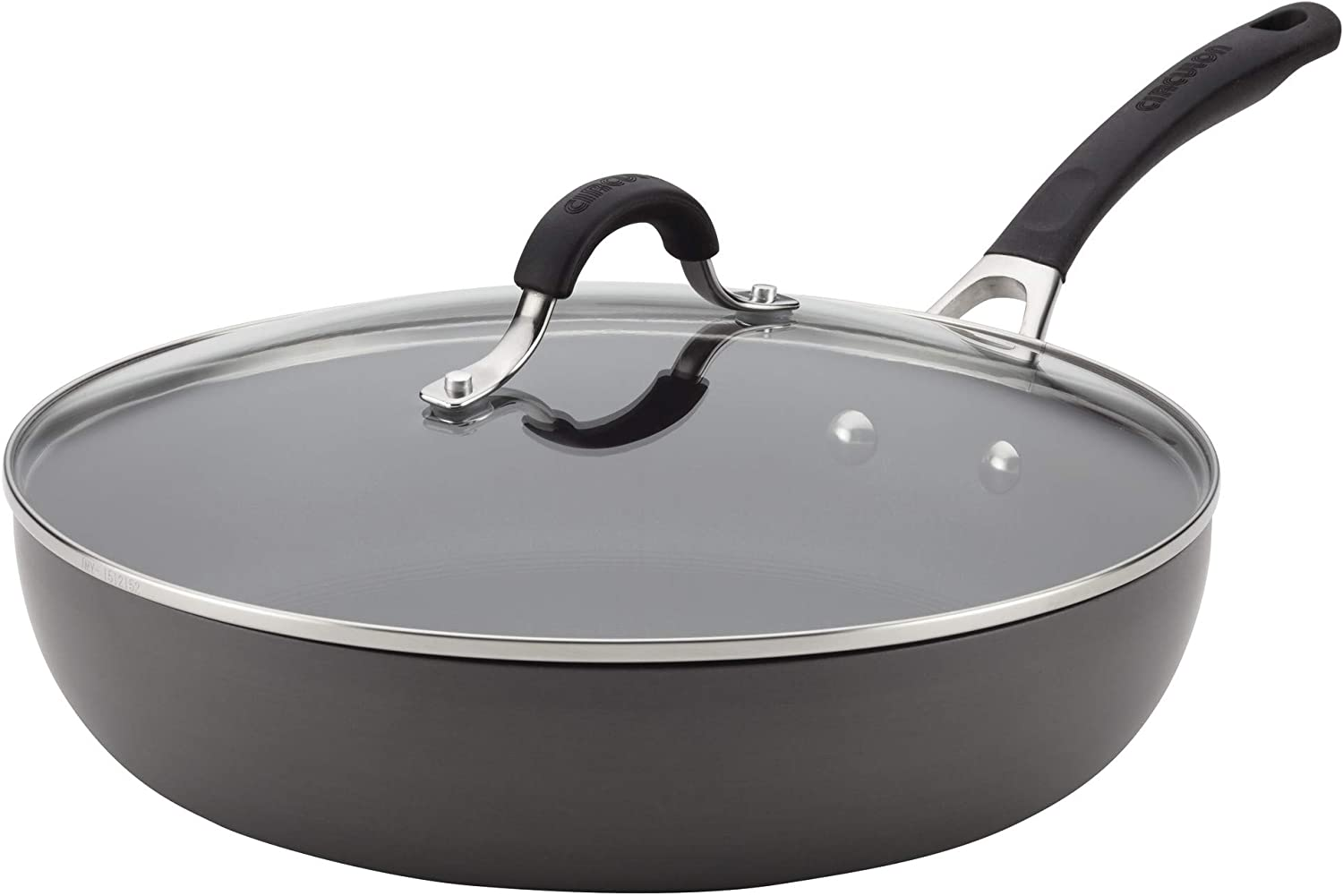 Circulon Innovatum Hard-Anodized 12 Inch Nonstick Deep Skillet with Lid, Light Gray