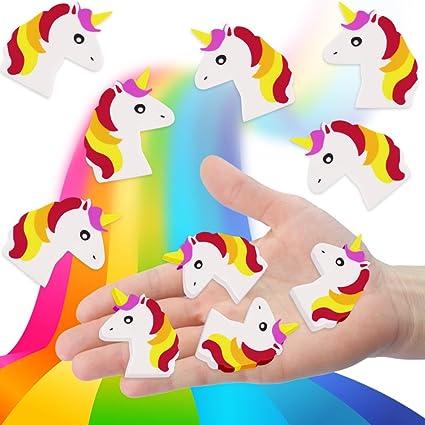 German Trendseller® - 6 x gomas de unicornio┃por la estuche┃ fiestas infantiles┃ idea de regalo┃piñata┃cumpleaños de niños┃ 6 unidades