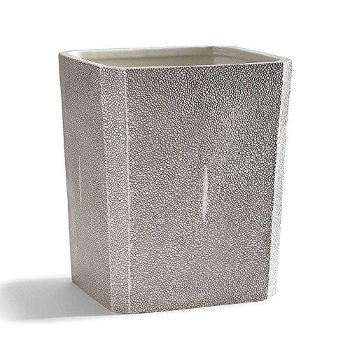 Kassatex Unisex Shagreen Bath Accessories Waste Basket Porcelain/Grey by Kassatex
