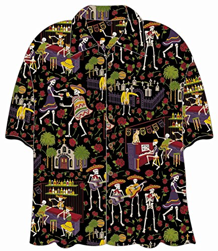 Day of the Dead Mariachi Hawaiian Camp Shirt by David Carey (3X)
