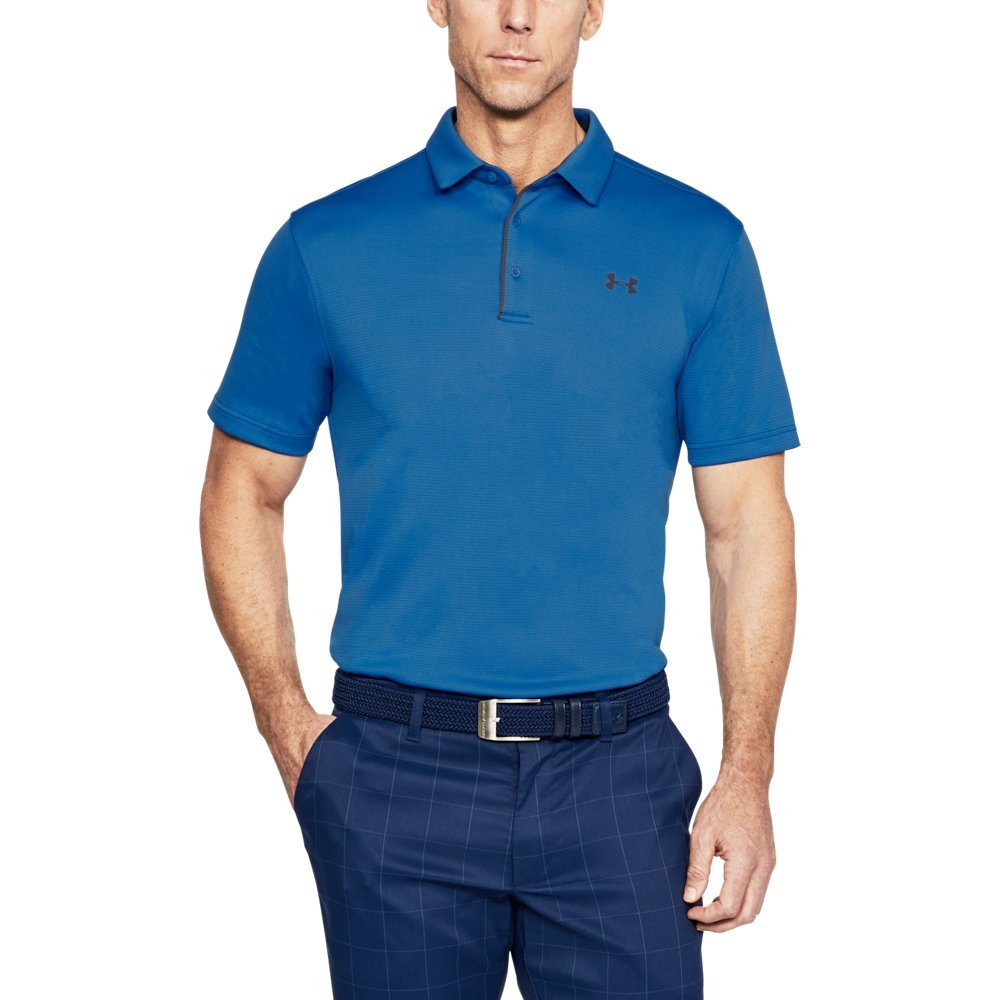 Under Armour Men's Tech Polo, Mediterranean (437)/Rhino Gray, Large by Under Armour