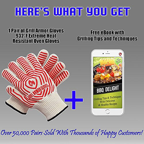 932°F Extreme Heat Resistant Oven Gloves - EN407 Certified BBQ Gloves For Cooking, Grilling, Baking