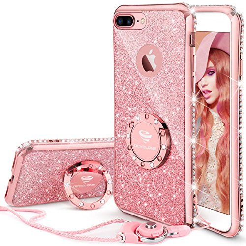 iPhone 7 Plus Case, iPhone 8 Plus Case, Glitter Cute Phone Case Girls with Kickstand, Bling Diamond Rhinestone Bumper Ring Stand Protective Pink iPhone 7 Plus/ 8 Plus Case for Girl Women – Rose Gold