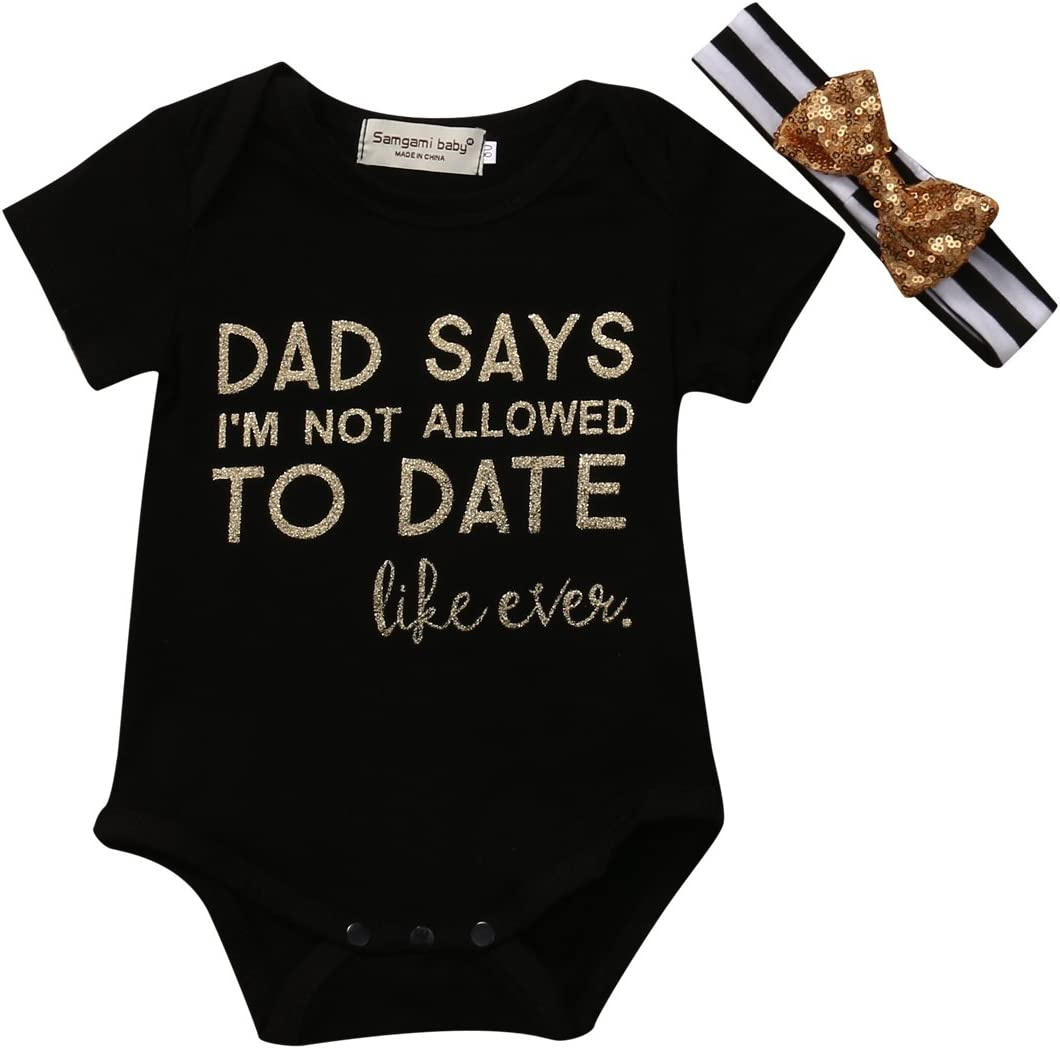 DAD SAYS, 0-3 Months Newborn Baby Daddys Little Princess Romper Black Short Sleeve Bodysuit Playsuit Headband Outfits Clothes