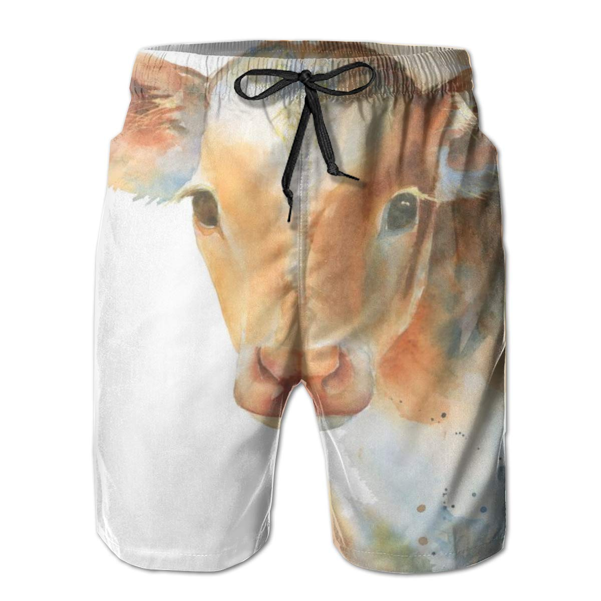 WWT Watercolor Baby Cow Mens Adjustable Beach Board Short with Mesh Lining//Side Pockets