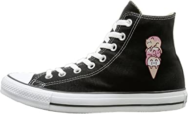 Shenigon Cat Canvas Shoes High Top Casual Black Sneakers Unisex Style