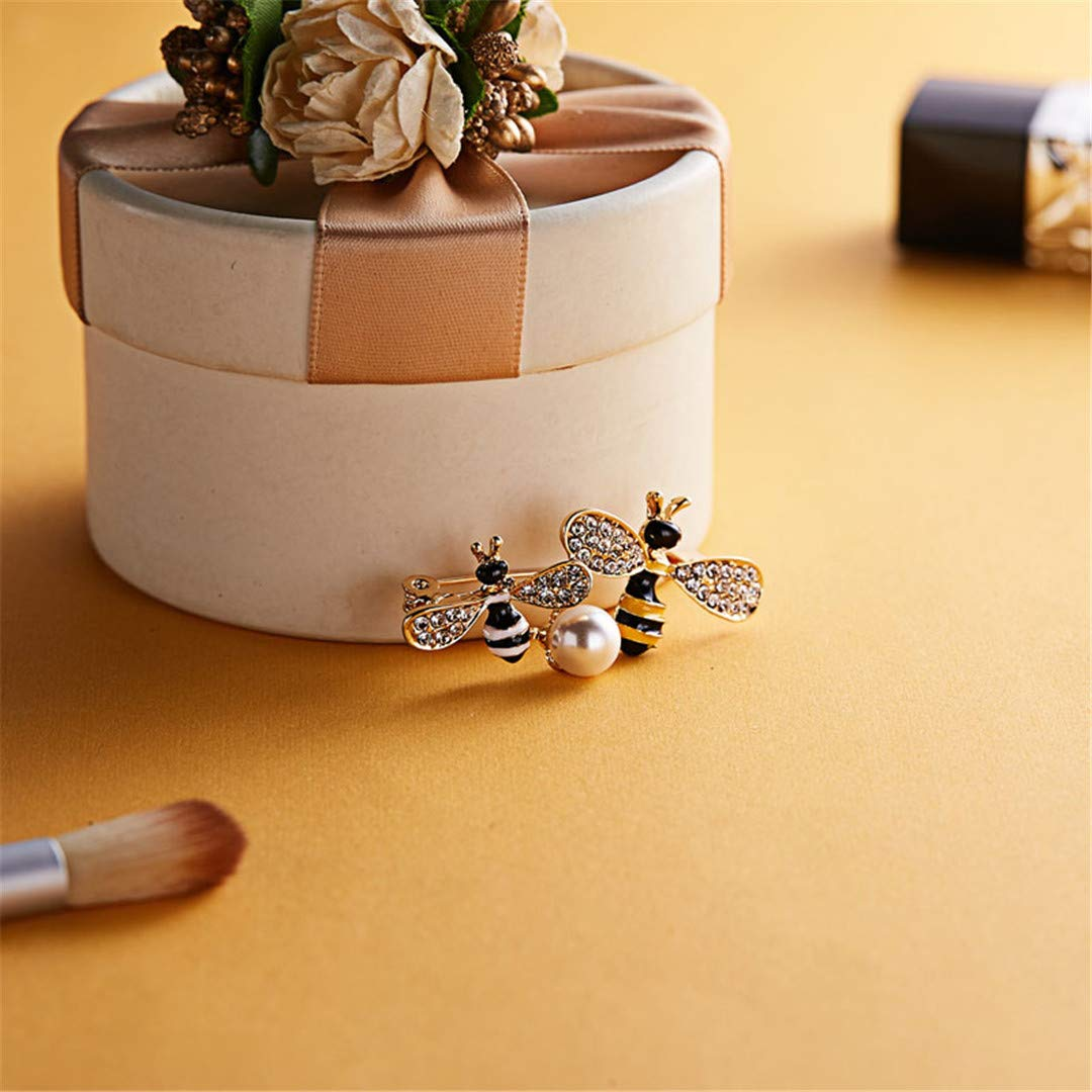XINCSLHF Exquisite Enamel Bee Brooches for Women Simple Pearl Cute Insect Corsage Pin Fashion Jewelry Accessories Gift