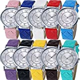 Yunanwa 10 Pack Women Men Soft Leather Wrist Watches Jelly Dress Brand Bracelet Assorted Kids