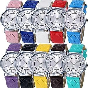 Yunanwa 10 Pack Women Men Soft Leather Wrist Watches Jelly Dress Brand Bracelet Assorted Kids
