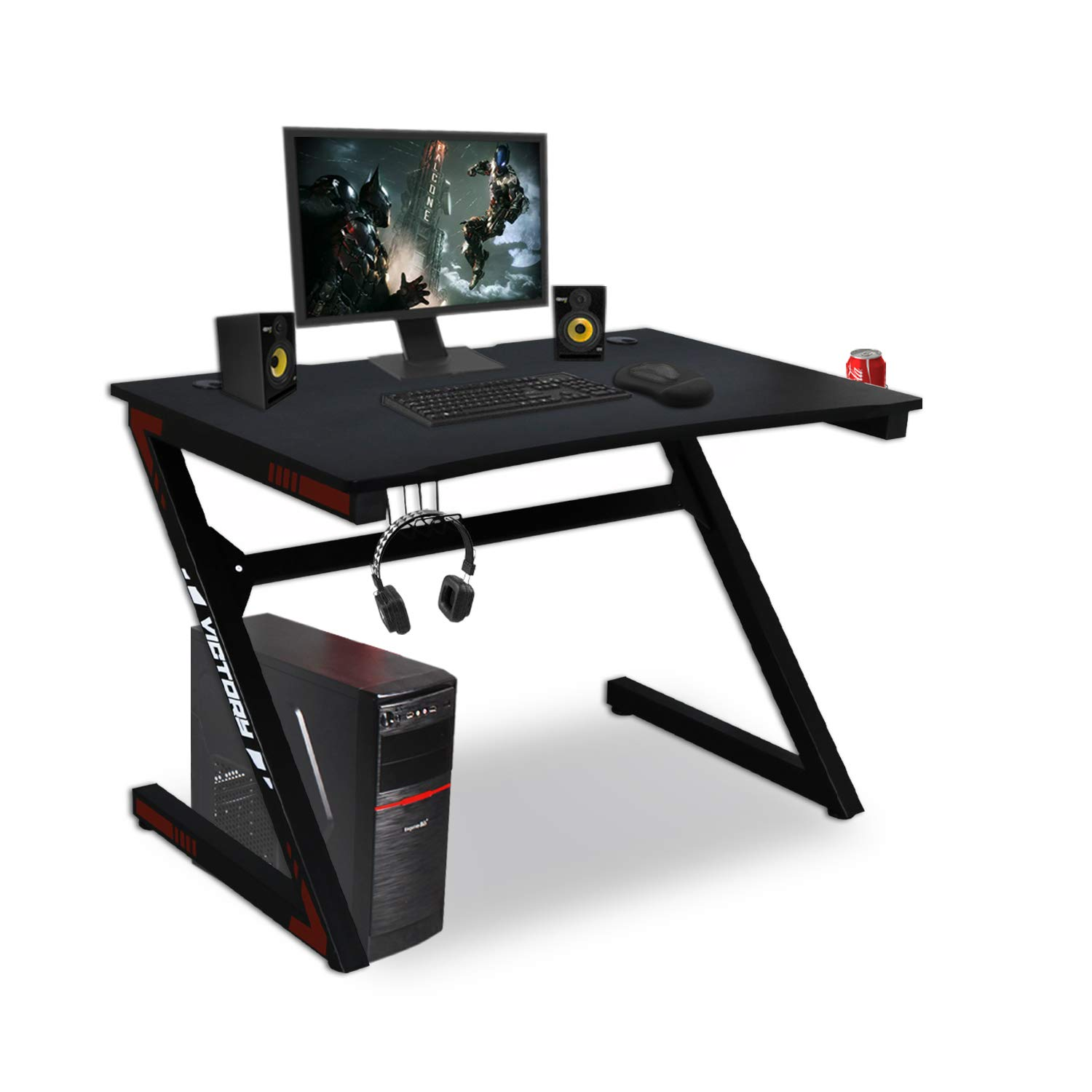 Kazila Gaming Desk Computer Table for Home Office Sturdy Desk with Cup Holder, Headphone Hook Gamer Workstation Laptop PC Desk,Red by Kazila