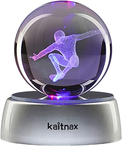 Sfera di Cristallo Kaitnax 3D 50/ mm Lampada a LED con Base Star Trek con Incisione al Laser