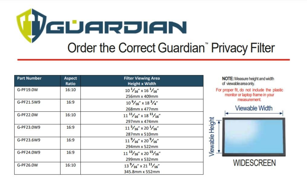 Protects Your Confidential Information Guardian Privacy Filter for Computer Monitor 21.5