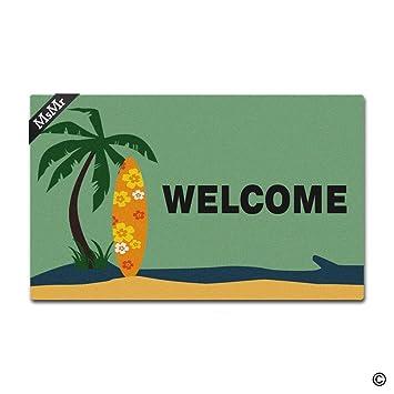 msmr Felpudo entrada Felpudo – Felpudo (Coco y tablas de surf bienvenida antideslizante Felpudo (
