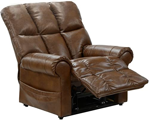 Catnapper Power Lift Full Lay Out Chaise Recliner in Chestnut
