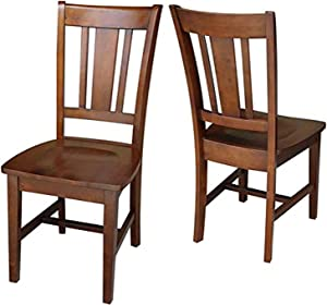International Concepts Set of Two San Remo Splatback Chairs, Espresso