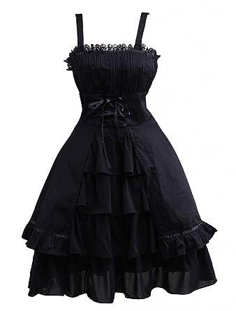 3ef2493e7ade Ainclu Womens Gothic Black Sleeveless Ruffles Cotton   Lace Summer Cute  Lolita Dress at Amazon Women s Clothing store