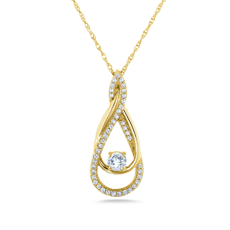 ダイヤモンドクロスネックレス1 / 10カラットTDWの共有プロング10 Kゴールド B076FL8KRG