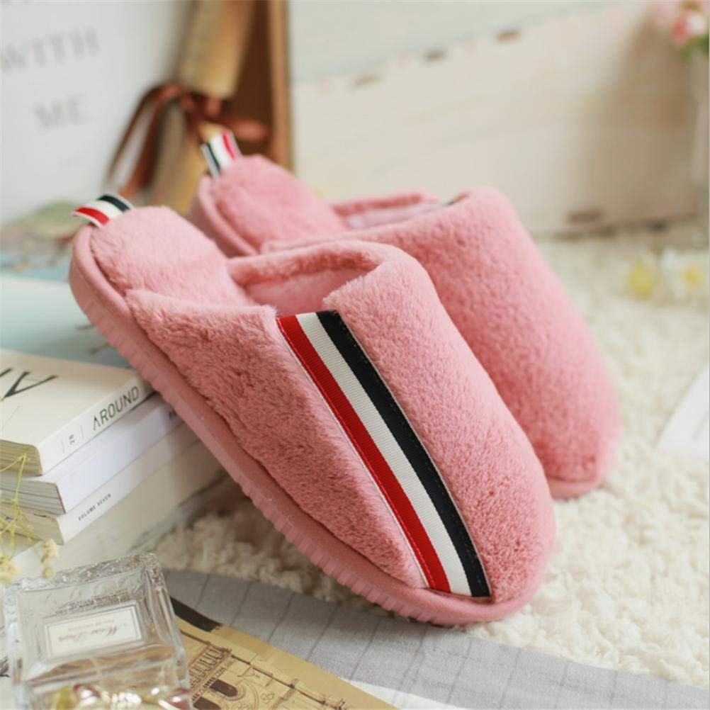 Watermelon red JaHGDU Lady Cotton Slippers Keep Warm in Autumn and Winter Home shoes Slip Slippers for Women Pink Black Khaki