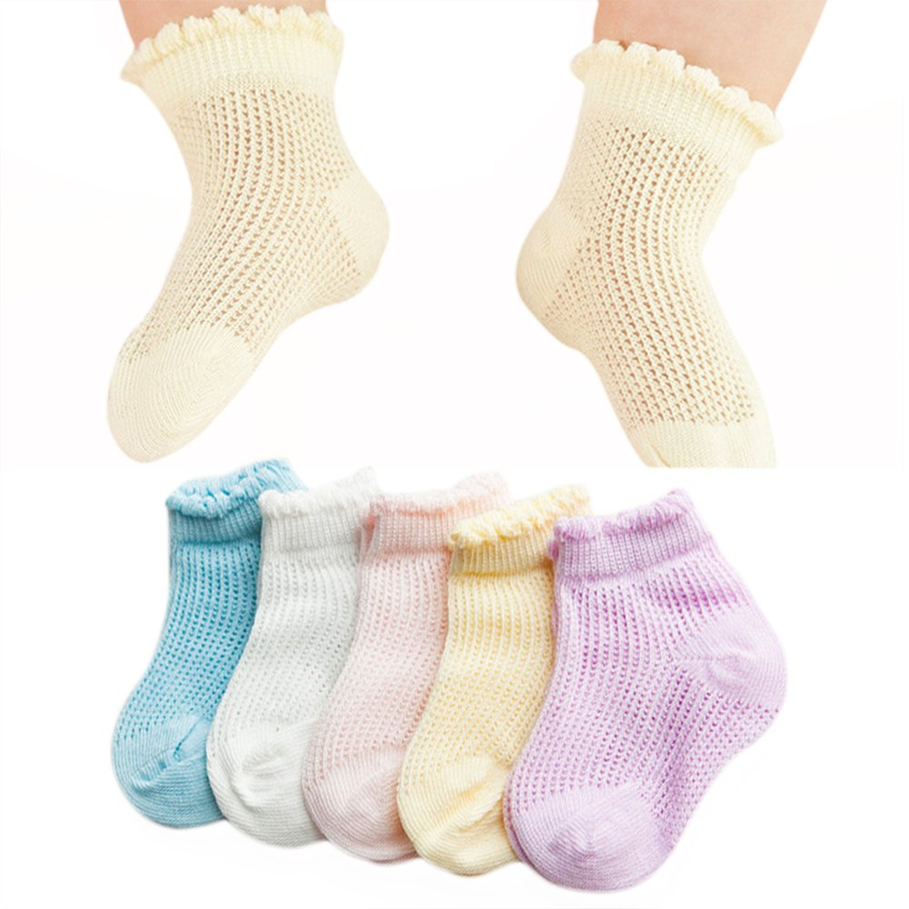 VWU 5 Pack Baby Girls Boys Thin Mesh Ankle Socks Cotton Socks 0-1//1-3//3-5Y
