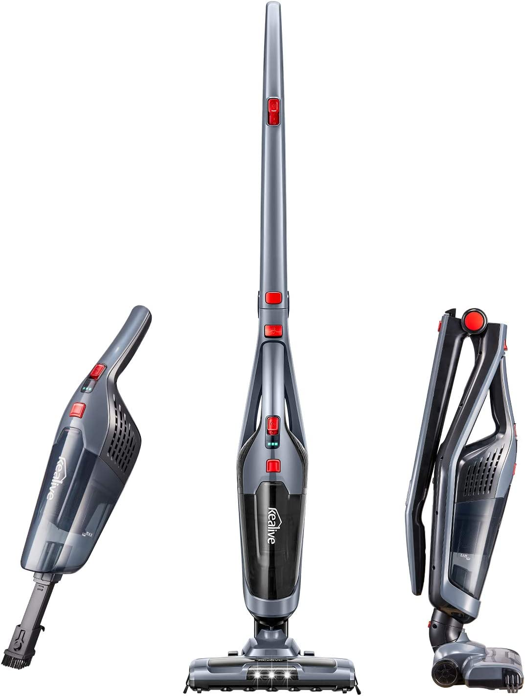 Cordless Vacuum, Kealive 8000 PA Stick Vacuum Cleaner, 2 in 1 Lightweight Rechargeable Bagless Stick and Handheld Vacuum with Wall Mount for Carpet Hardwood Floor Pet Hair and Corner Lighting, Black