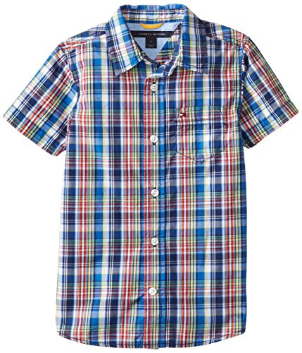 Tommy Hilfiger Little Boys' Rownan Short Sleeve Toddler Plaid Woven, Flag Blue, 4T