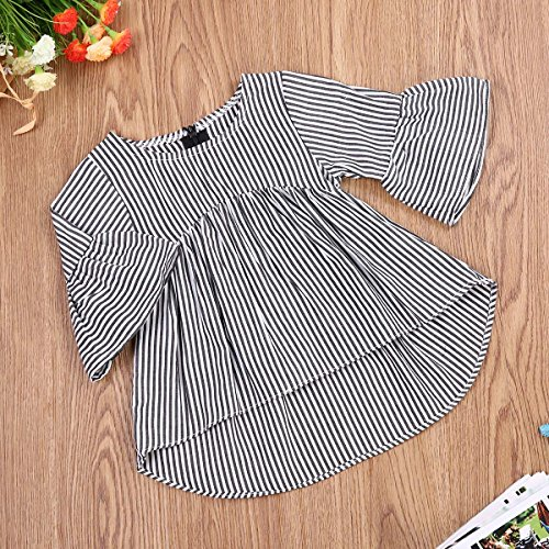 Baby Girl Stripe Top Blouse Autumn Ruffle Sleeve Shirt Casual Clothes (Black+White, 12-18 Months)