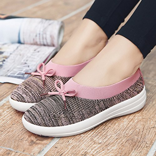 Loafers Women WEONEDREAM Slip Pink Breathable Flat Light On Shoes Bow Knot TzOrT6PW
