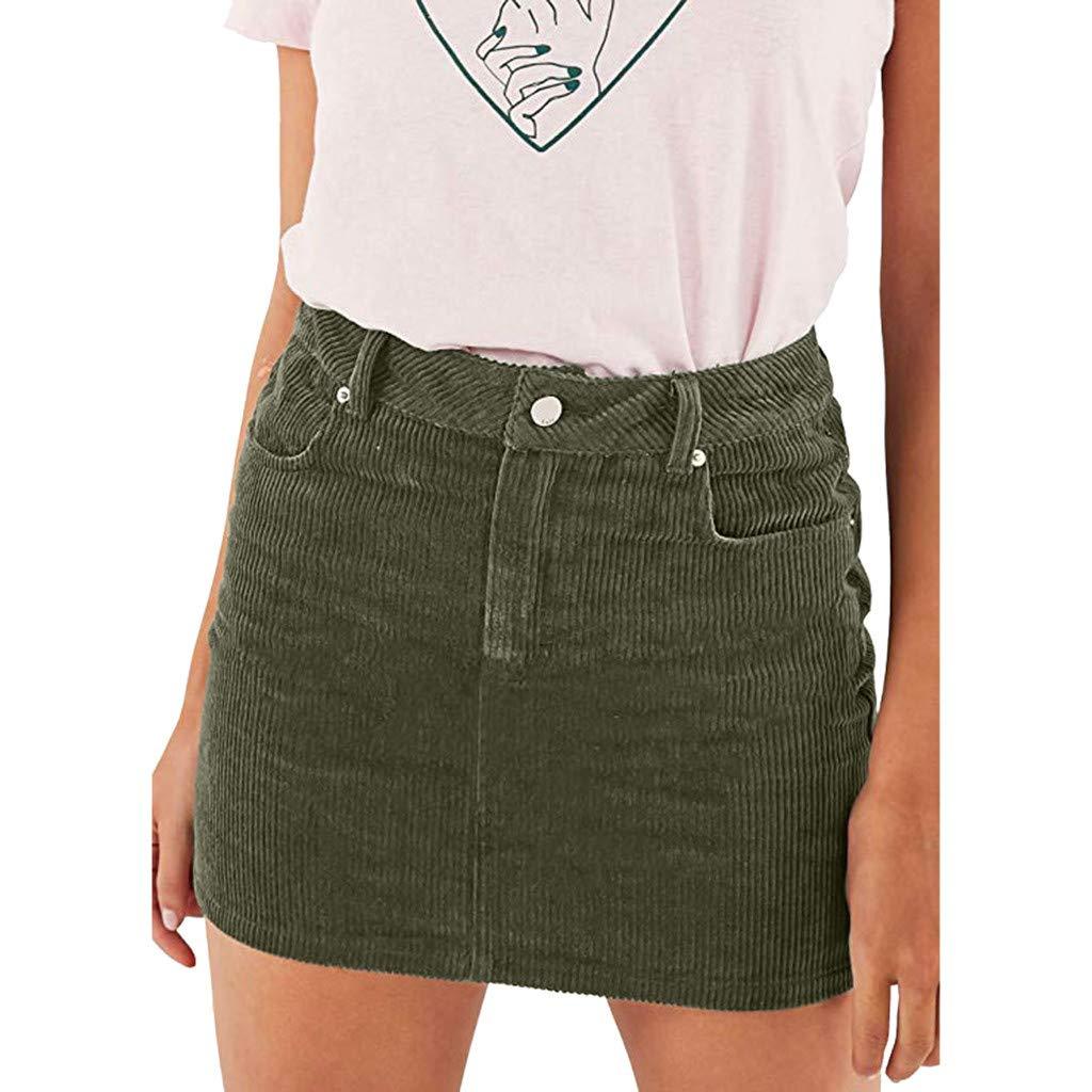 Women Classic Pencil Skirt,Summer Sexy Slim Mini A Line High Waist Skirts (XXL, Green)