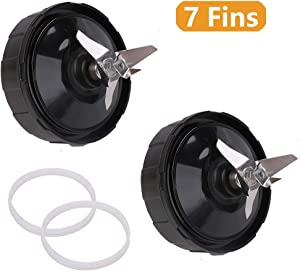 4 Pack Blender Bottom Extractor Blade Assembly 7 Fins and Gasket Rubber Replacement Parts Compatible with Nutri Ninja Auto iQ BL482 BL642 NN102 BL682 BL2013 Extractor Blade Replace 409KKU641