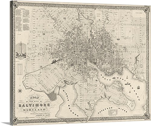 Map Vintage Plan (Canvas on Demand Premium Thick-Wrap Canvas Wall Art Print entitled Vintage Map Plan of the City of Baltimore, Maryland 20