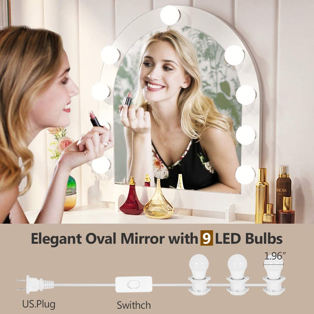 Large Vanity Table Bedroom Makeup Table With 9 Lights 6 Storage Shelves Us Ebay