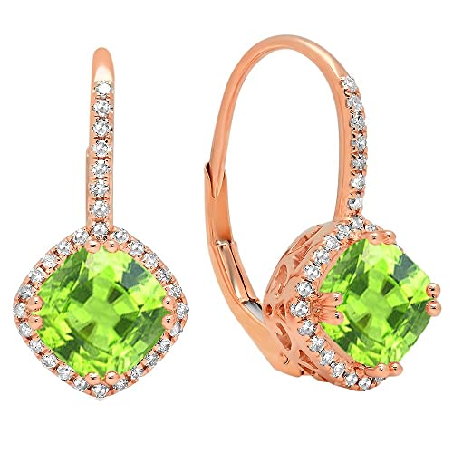 Dazzlingrock Collection 14K 6 MM Each Cushion Gemstone Round White Diamond Ladies Halo Style Hoop Earrings, Rose Gold