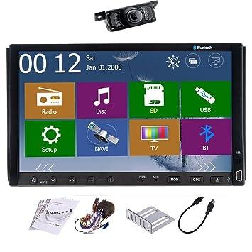 Eincar 7-pulgadas de pantalla táctil de doble DIN en el tablero de coches reproductor de DVD Bundle con la cámara trasera, antena GPS y accesorios (7 ...