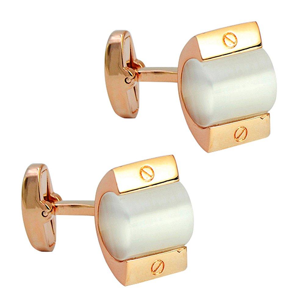 Daptsy unique rose gold cylinder crystal cufflink cat eye stone whale back cufflink mild art deco cufflinks
